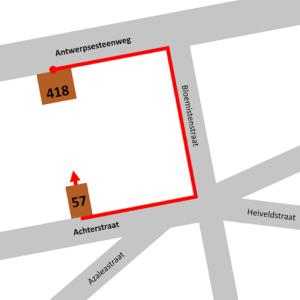 Tijdelijke ingang: achterstraat 57